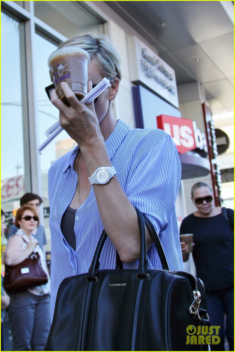 charlize theron picks up coffee on hollywood boulevard 043032233