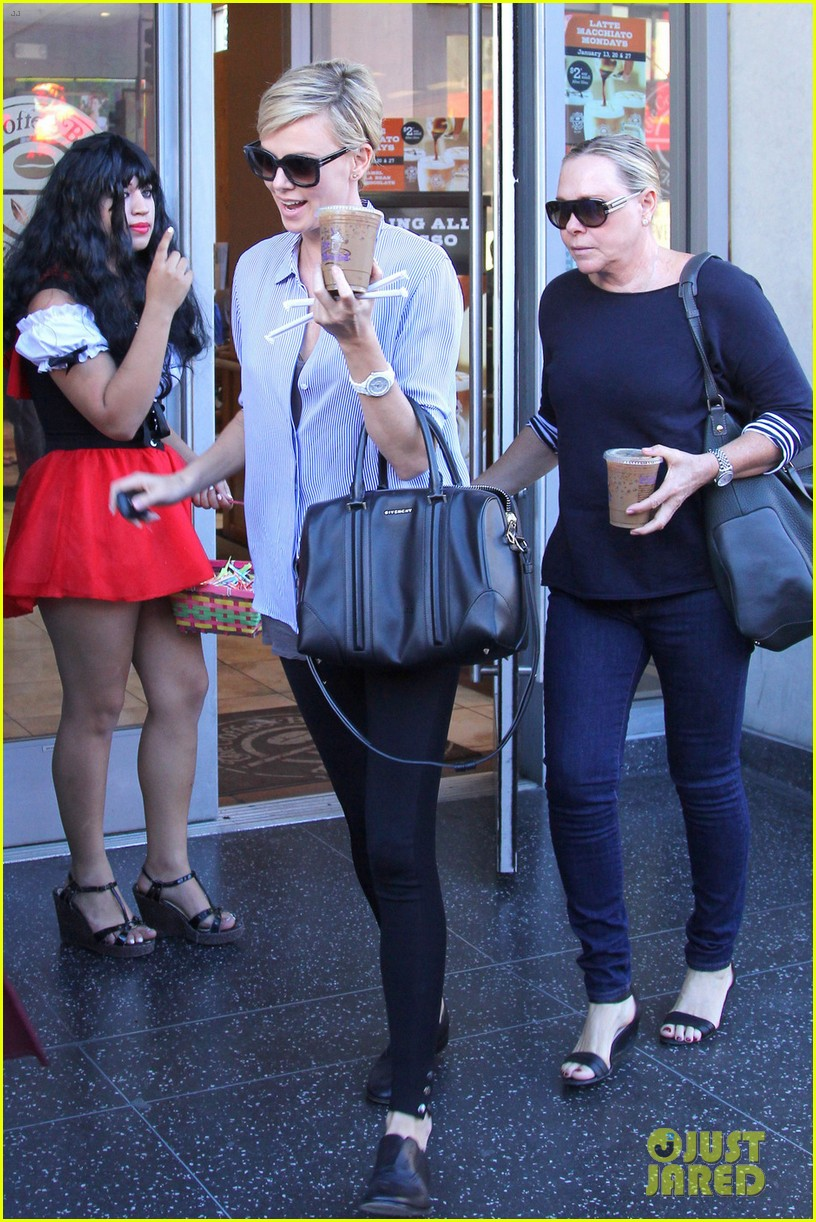 charlize theron picks up coffee on hollywood boulevard 05