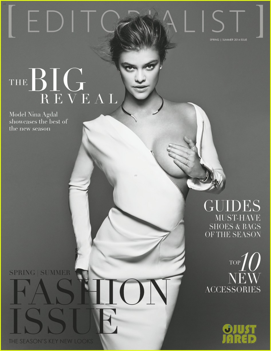 nina agdal holds boob in her hand for editorialist mag cover 02