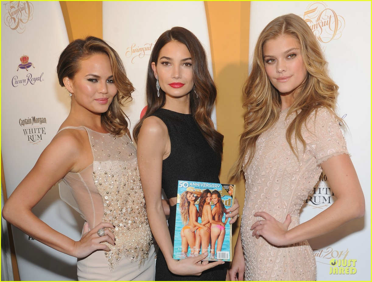 lily aldridge chrissy teigen si 50th years of swim celebration with nina agdal 083056079