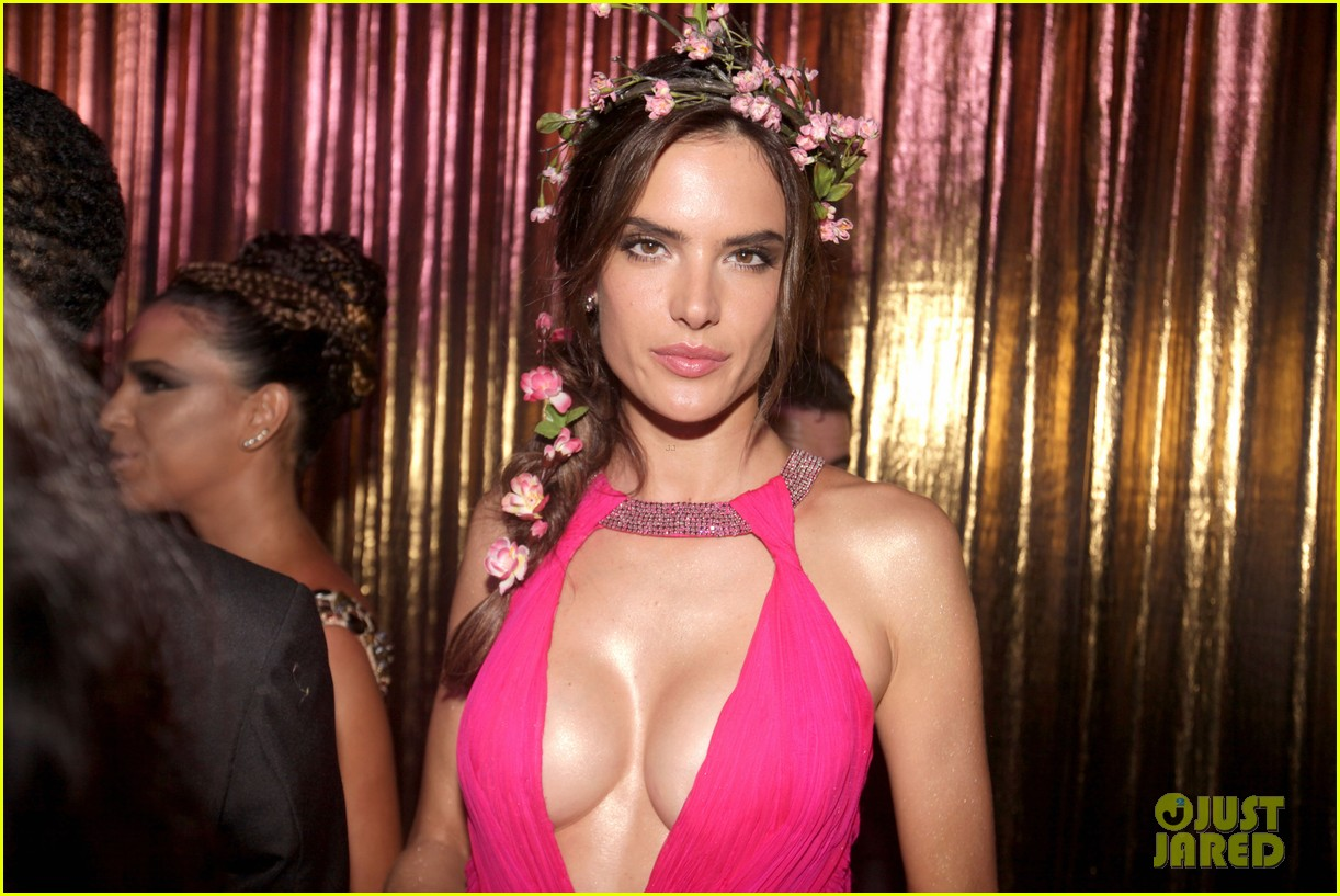 alessandra ambrosio displays all her assets with plunging neckline high slit dress 143058074