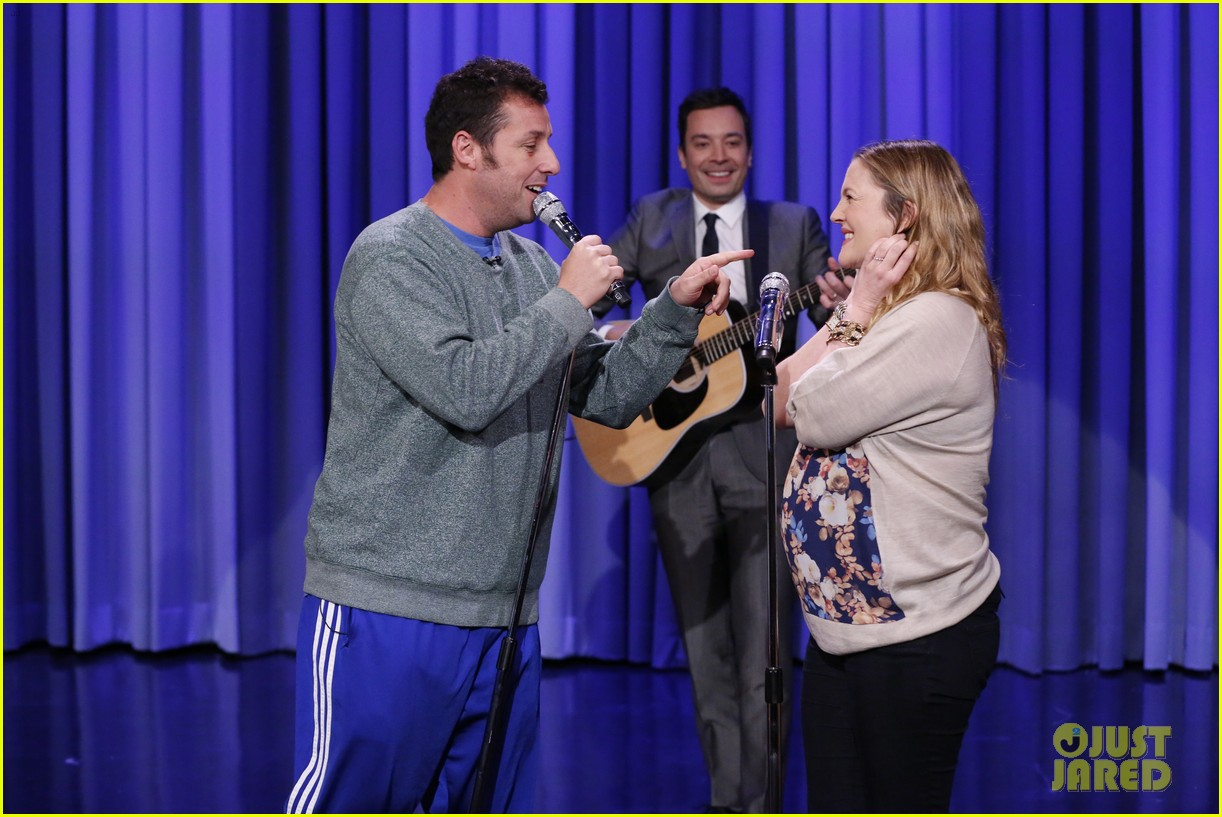 adam sandler sings to pregnant drew barrymore on fallon 02