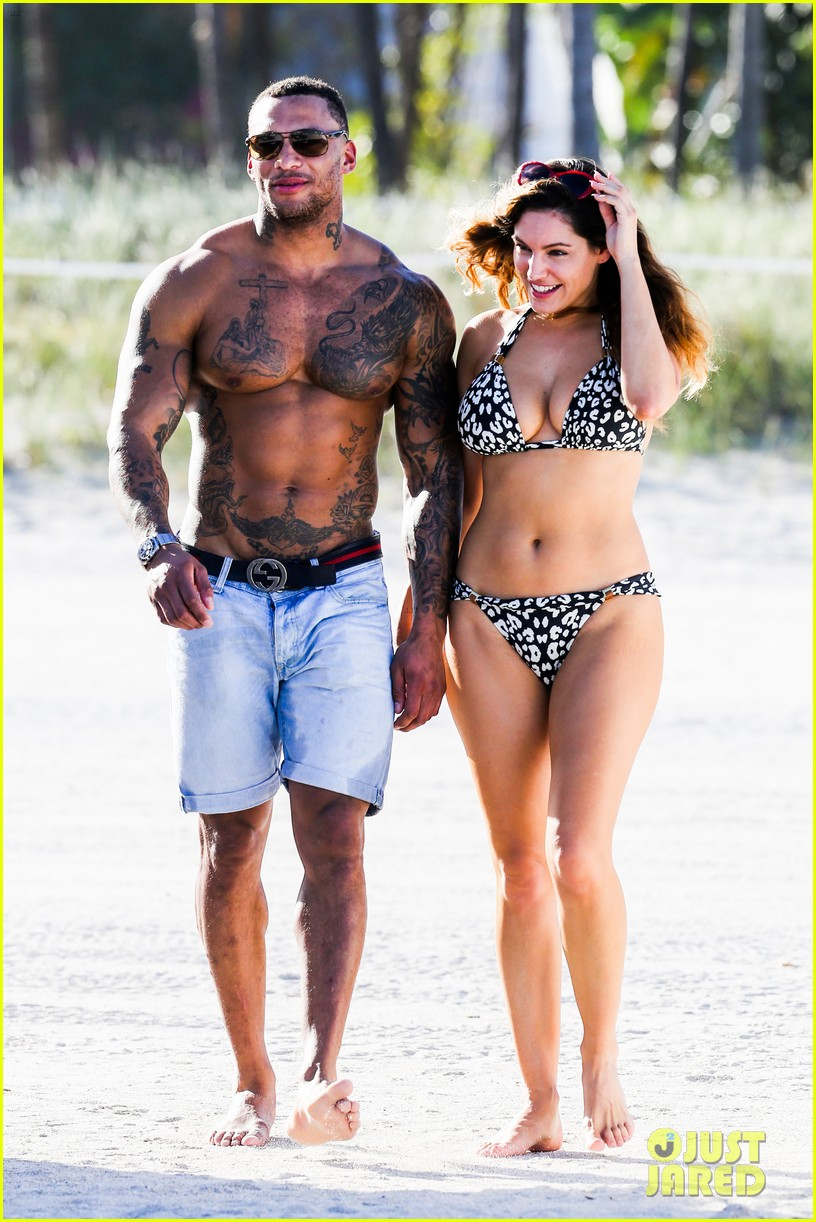 kelly brook bikini babe with macho boyfriend david mcintosh 143046863