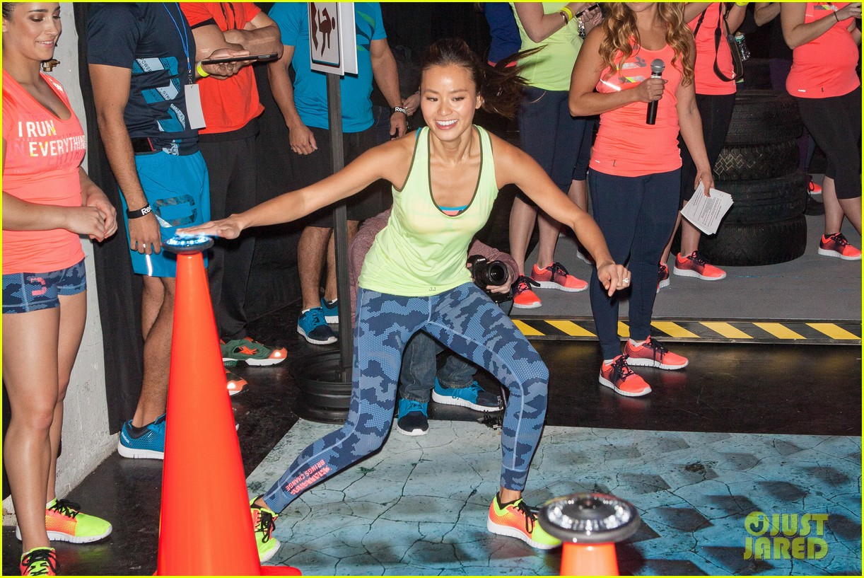 jamie chung flexes her muscles while testing reebok shoes 203048188