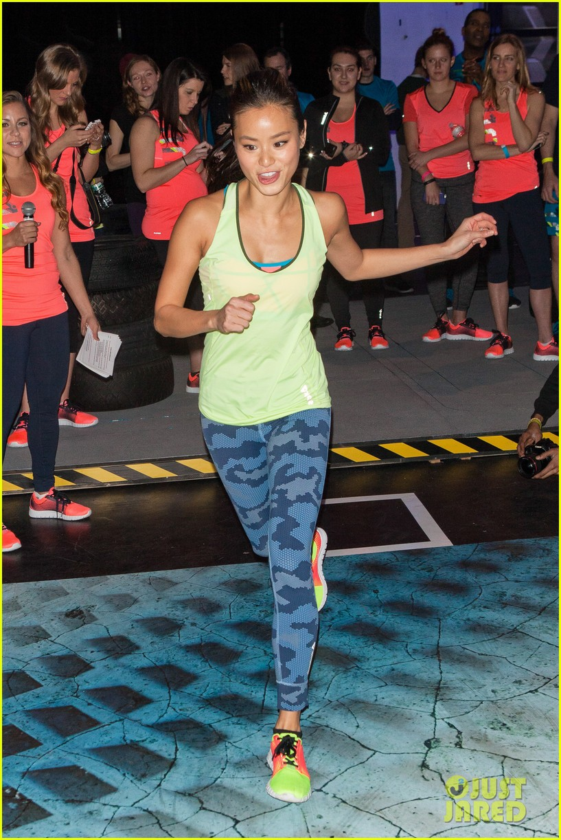 jamie chung flexes her muscles while testing reebok shoes 24