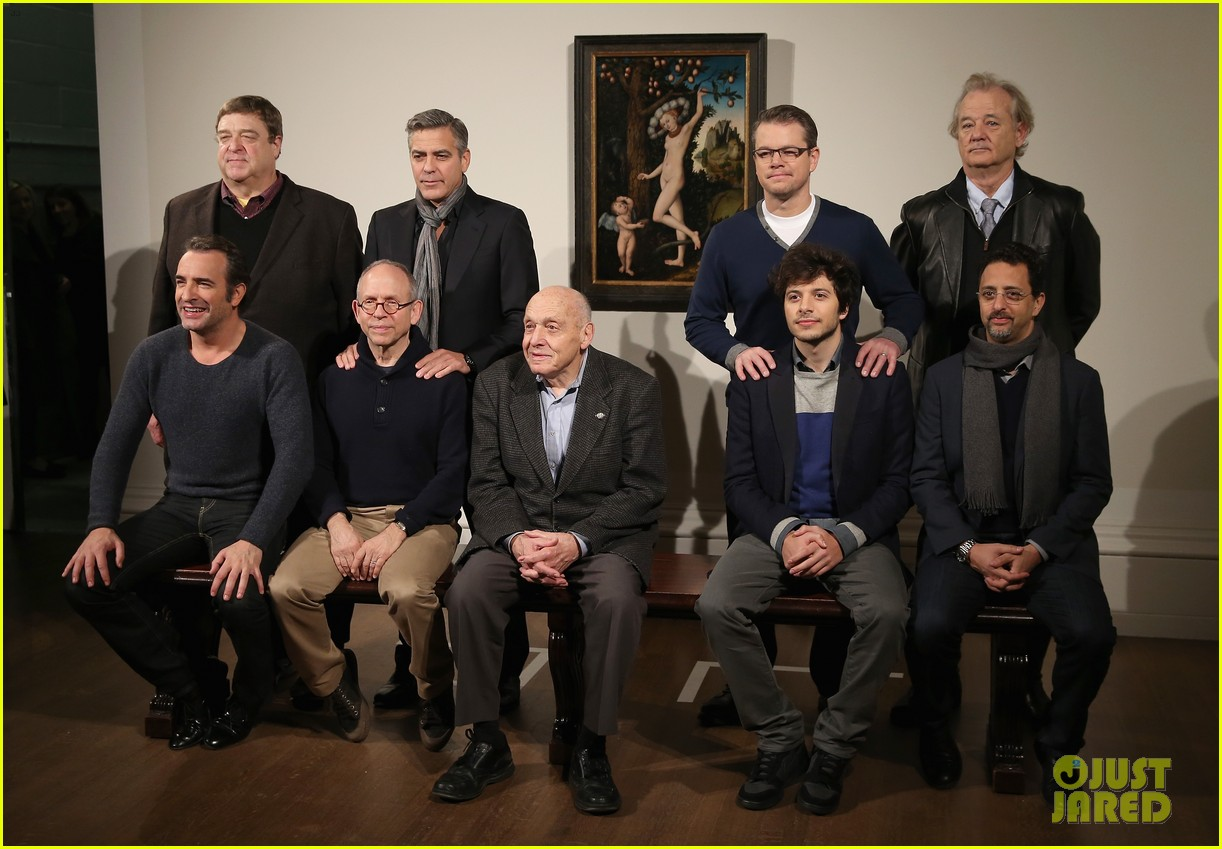 george clooney matt damon monuments men national gallery photo call 02