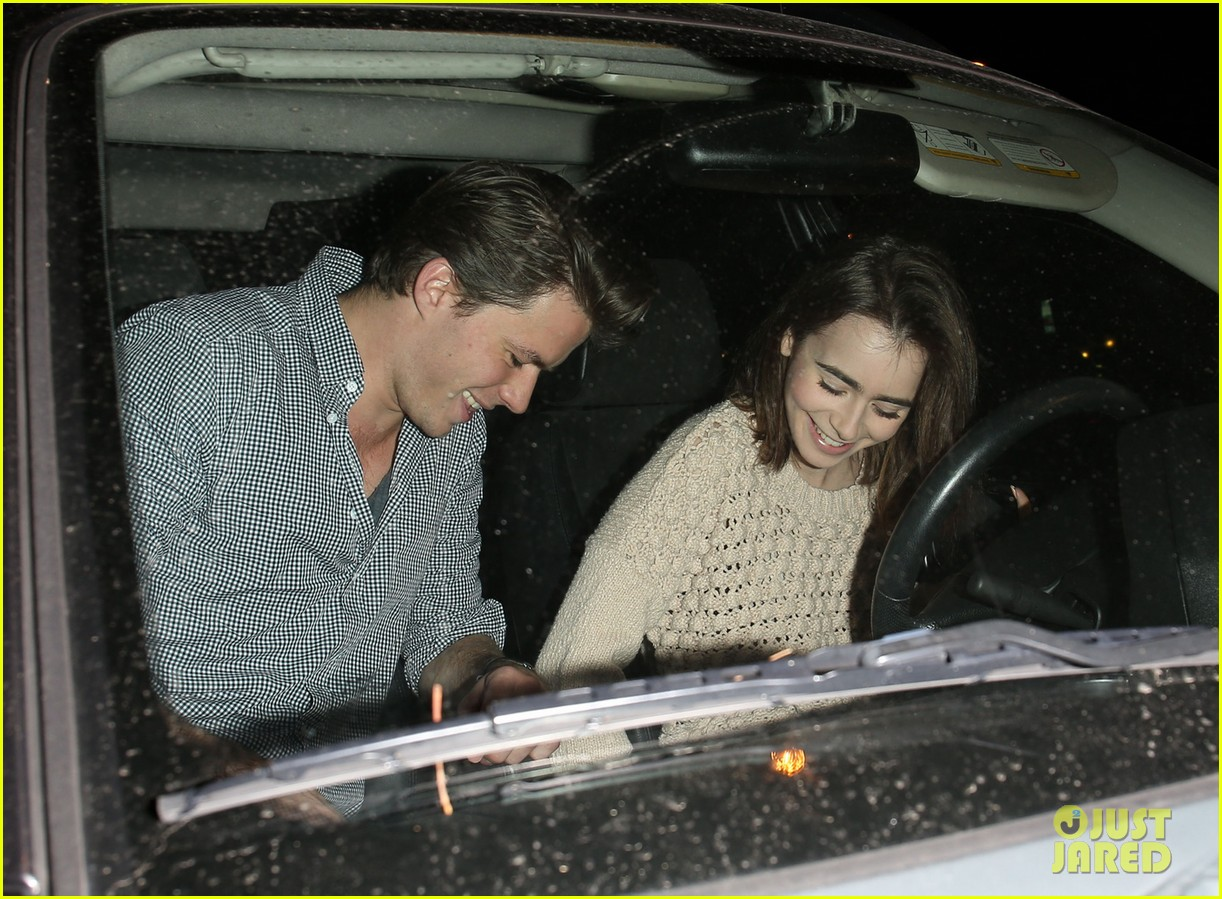 lily collins thomas cocquerel dinner date at craigs 01