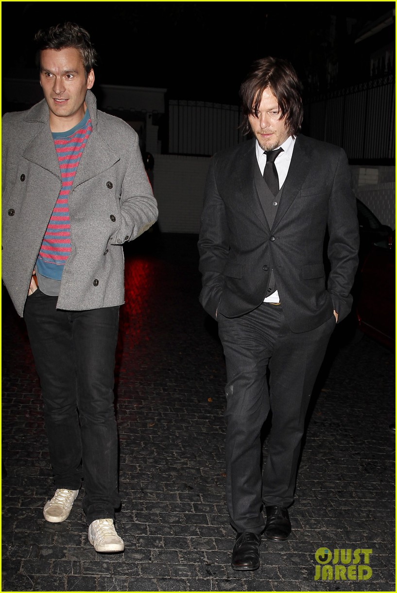 norman reedus steps out with castmates before walking dead premiere 14