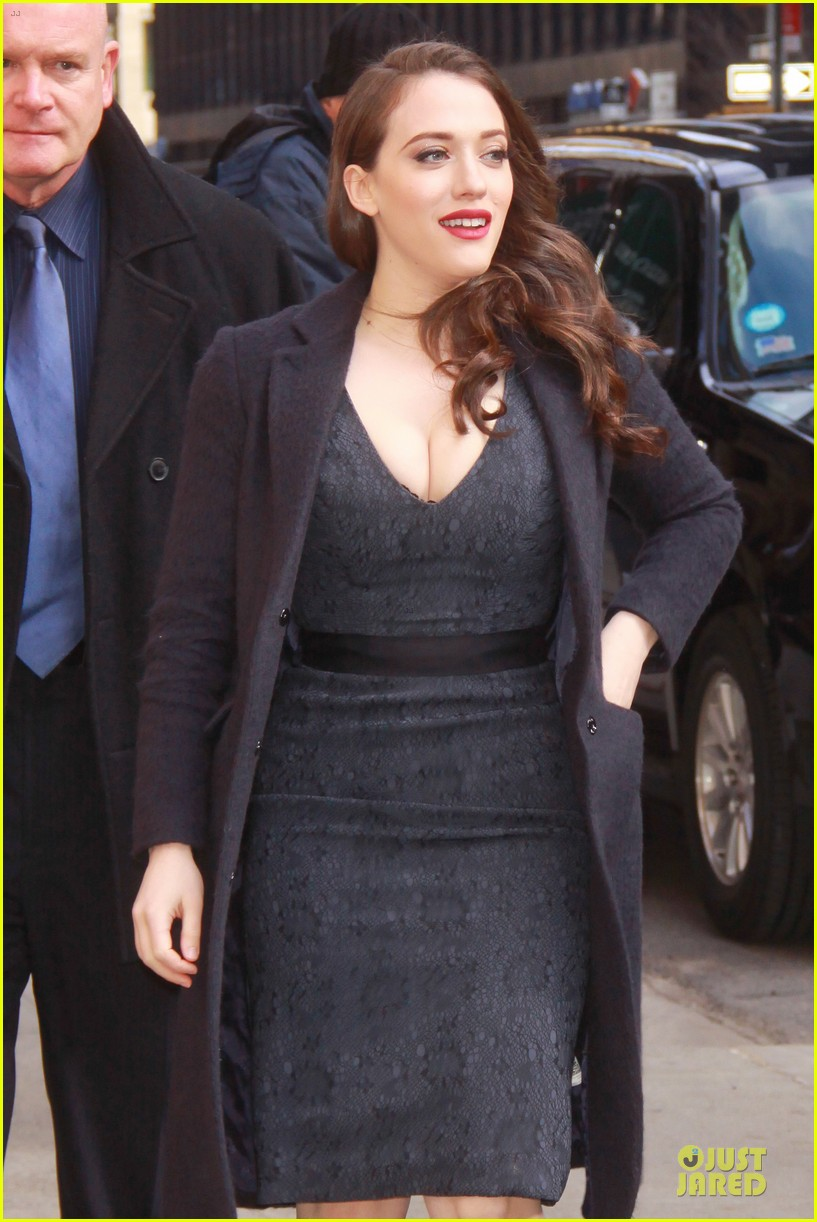 kat dennings bares cleavage for 2 broke girls promo tour 11