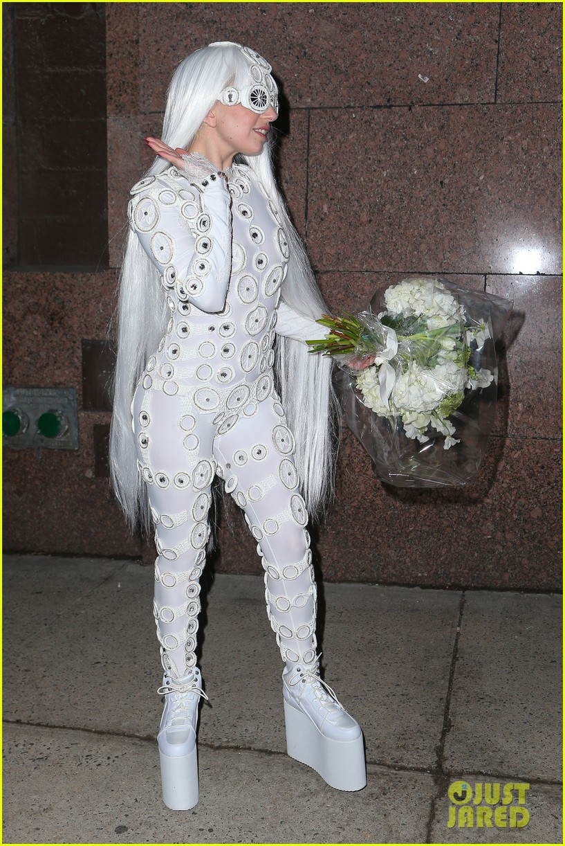 lady gaga is a bride see her throwing a bouquet of flowers 27