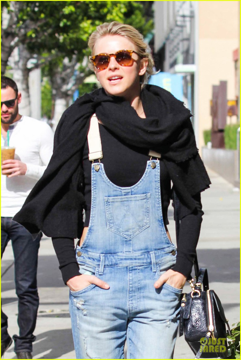 julianne hough sports denim overalls for newsroom brunch 04
