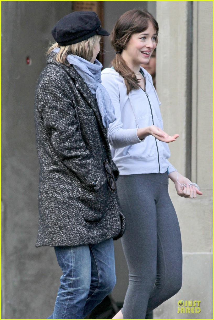 dakota johnson runs for fifty shades in pigtails 20