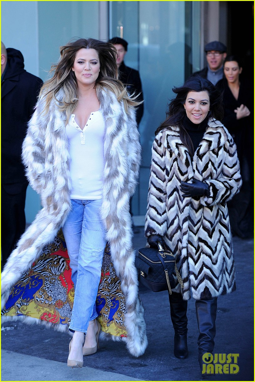 kim kardashian films kuwtk with her sisters khloe sends message on coat fxck yo fur 08