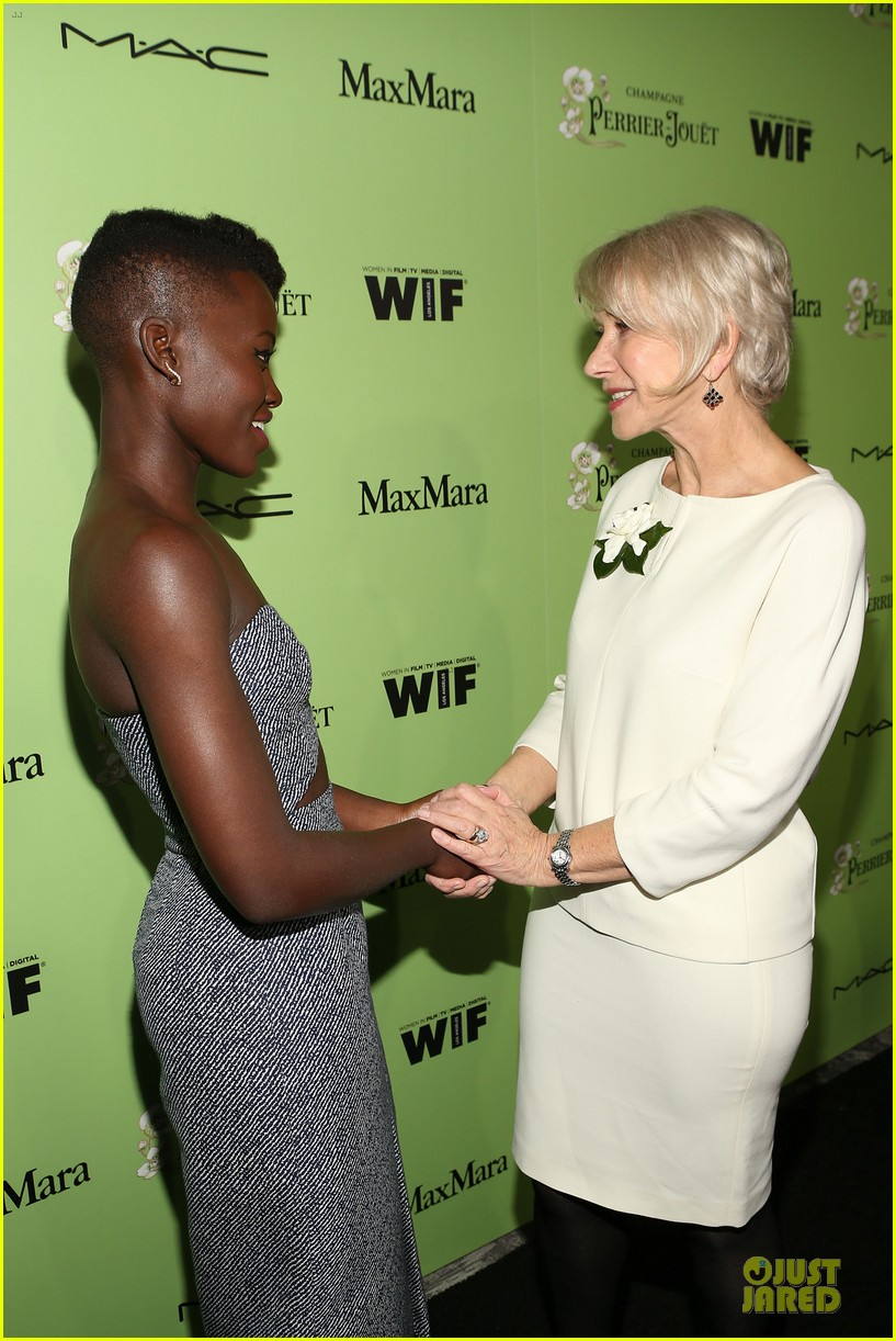 lupita nyongo helen mirren show admiration for each other at woemn in film pre oscar party 02