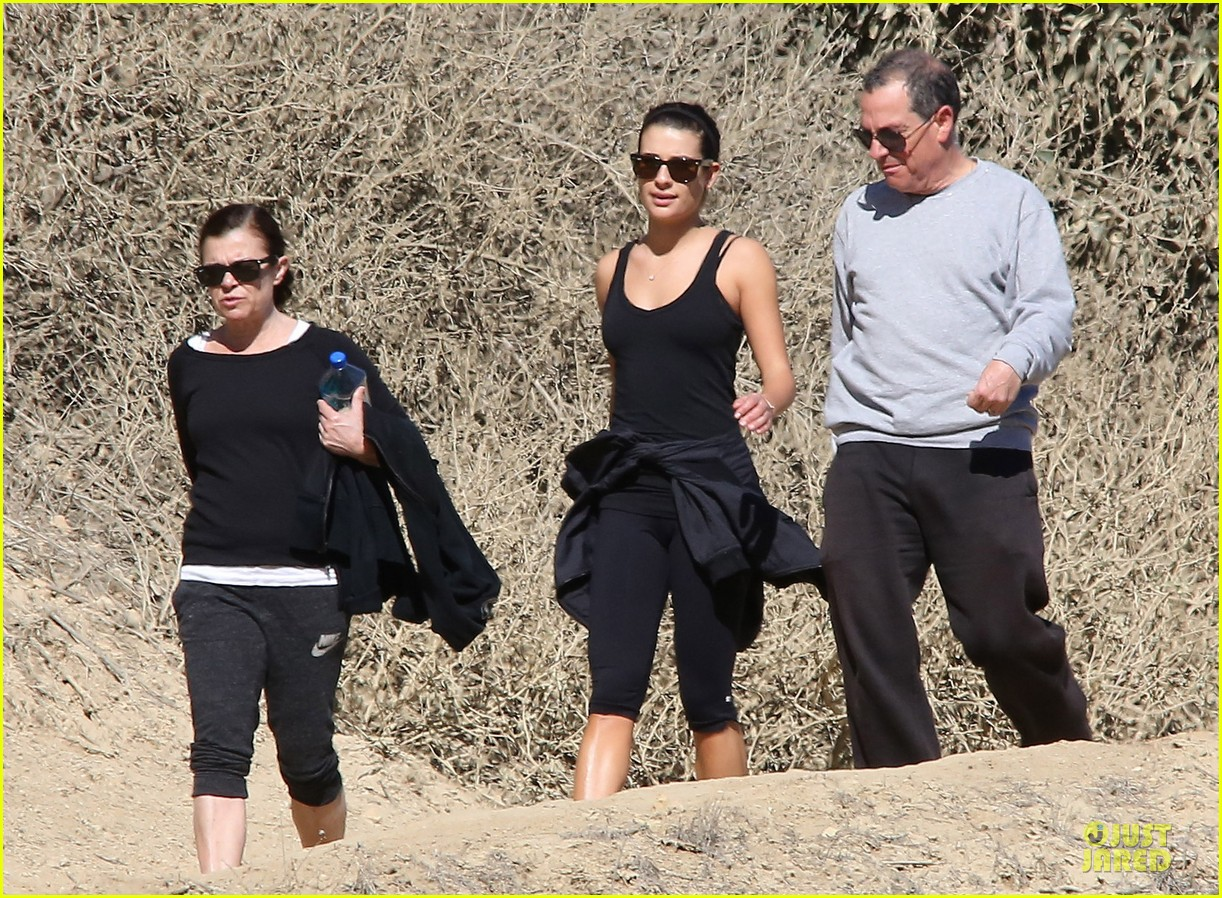 lea michele starts the week right with a family hike 043047093