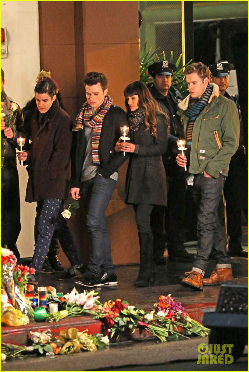 lea michele chris colfer film memorial scene for glee 04