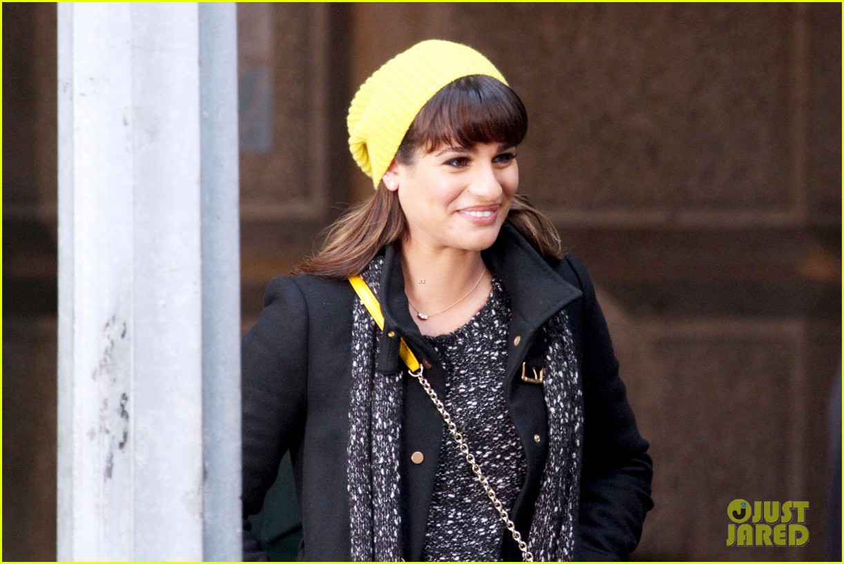lea michele films glee new york scenes with kevin mchale 103056539