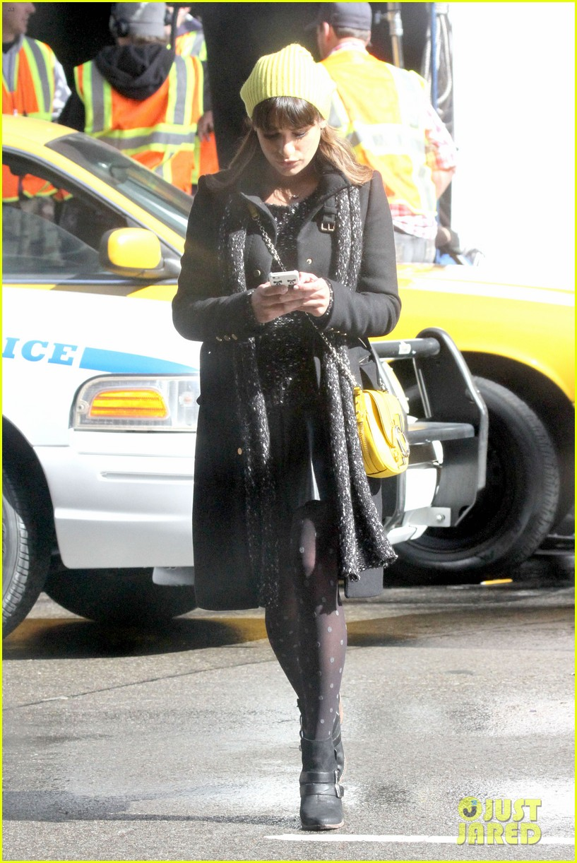 lea michele films glee new york scenes with kevin mchale 213056550