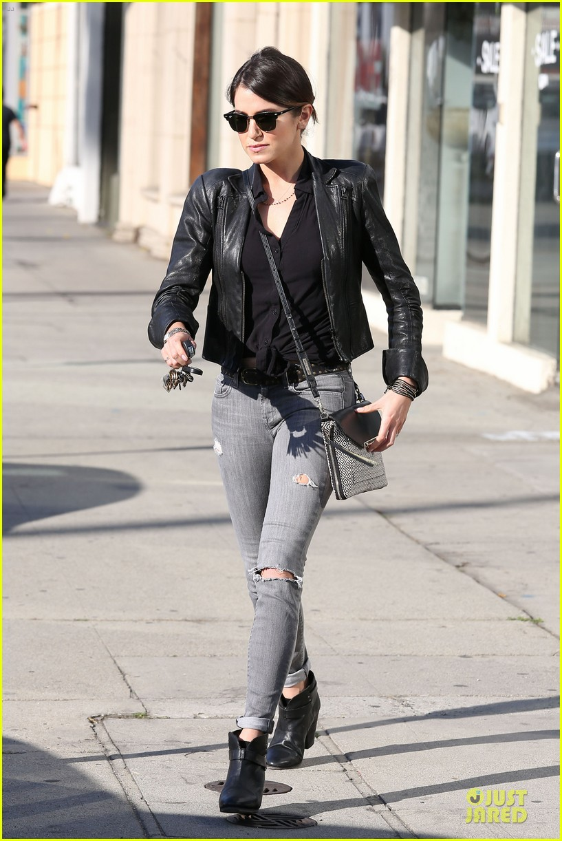 nikki reed rocks leather for spot shopping 063058503