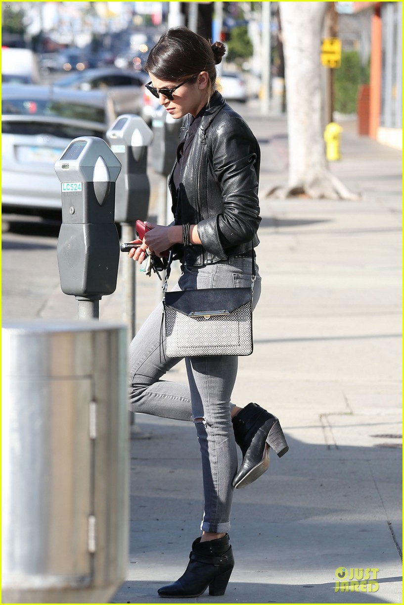 nikki reed rocks leather for spot shopping 12