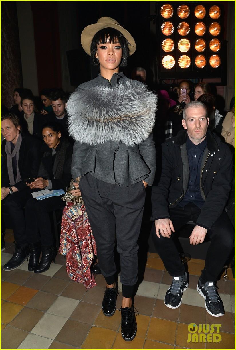 rihanna wears her fur at lanvin paris fashion show 05