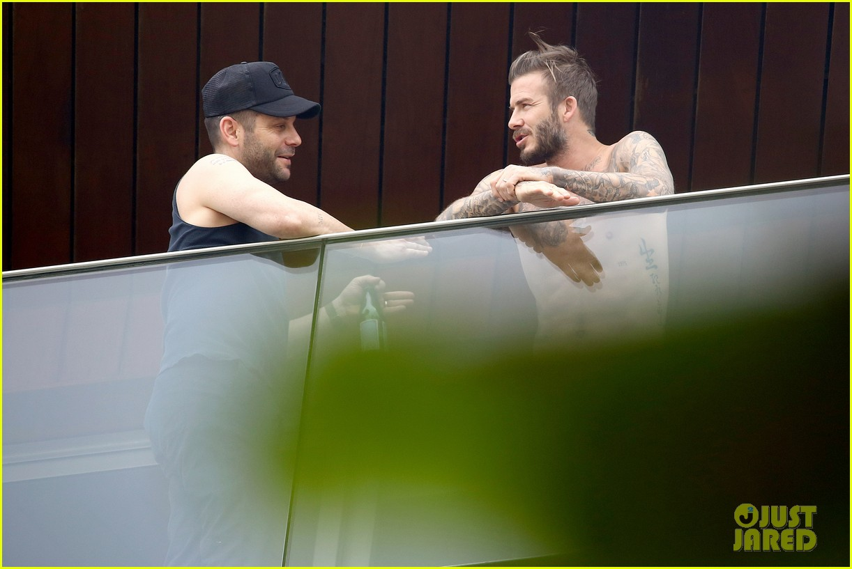 david beckham goes shirtless on his balcony in rio 19
