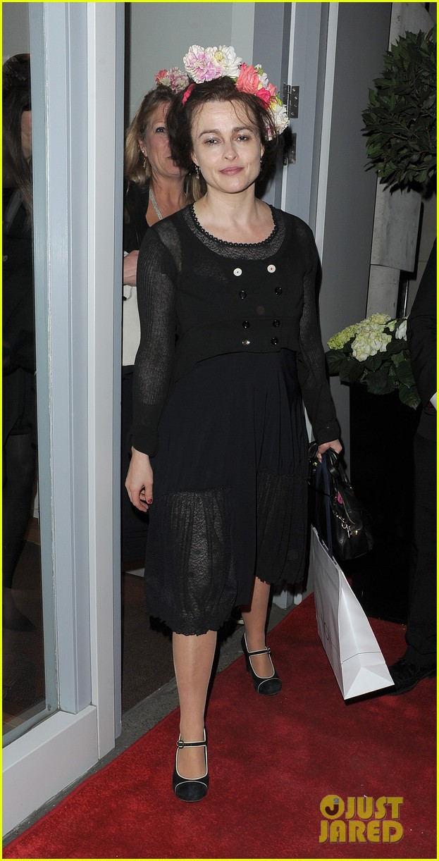 helena bonham carter wears a headband full of flowers to high opening 02