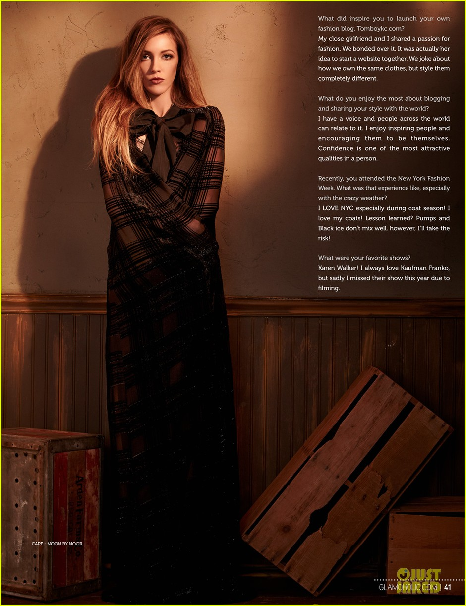 katie cassidy bares midriff for glamoholic cover 03