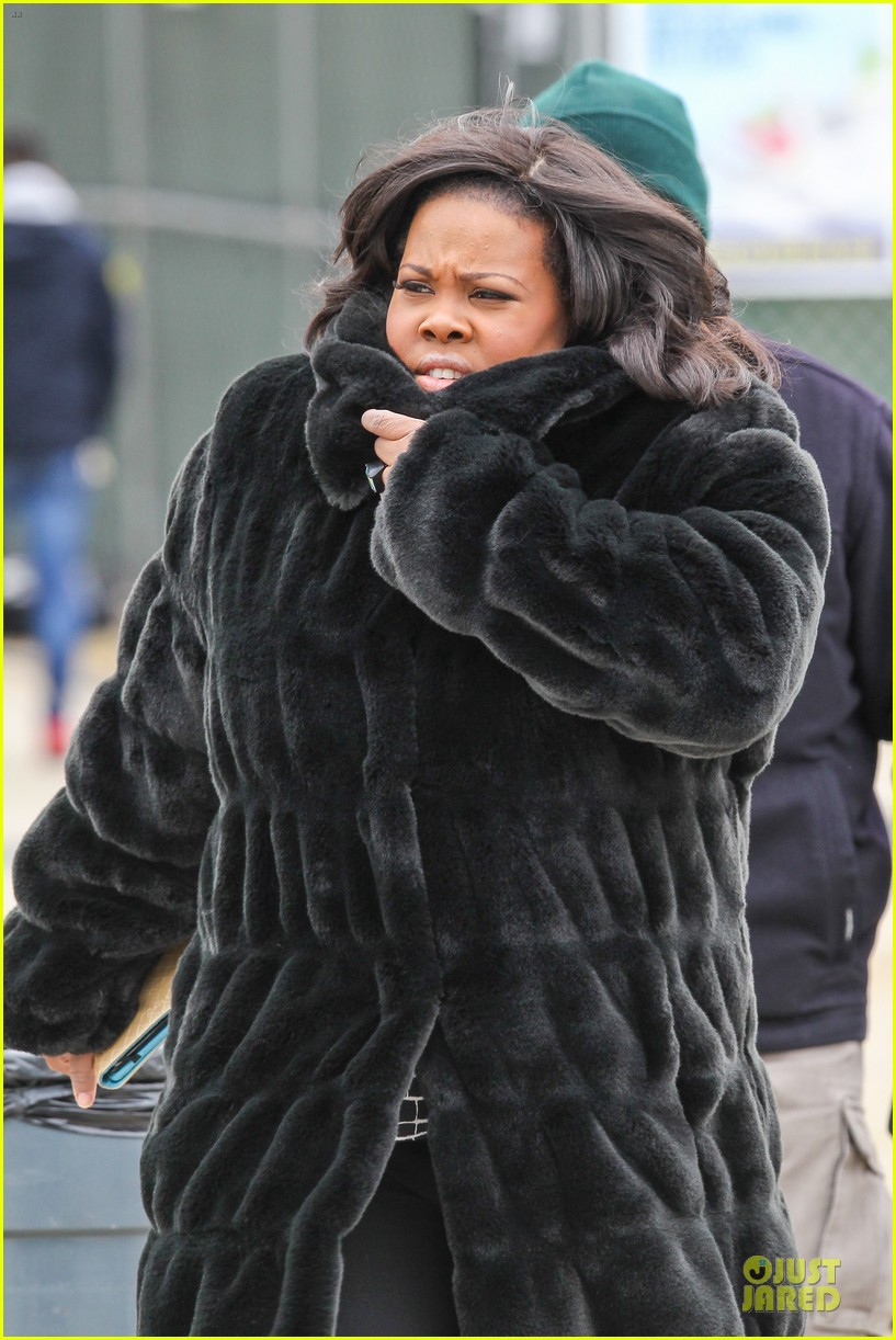 chord overstreet give amber riley jacket to stay warm 113074526