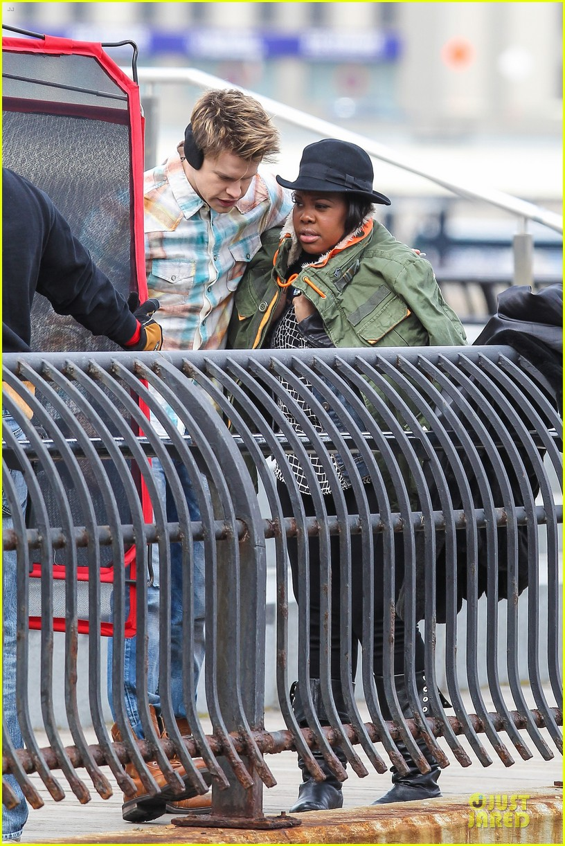 chord overstreet give amber riley jacket to stay warm 16