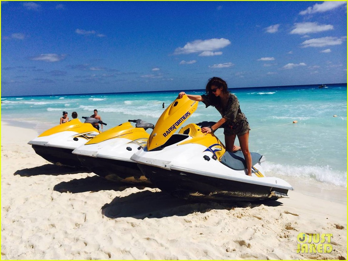 nina dobrev wears chic cover up over her bikini on cancun vacation 06