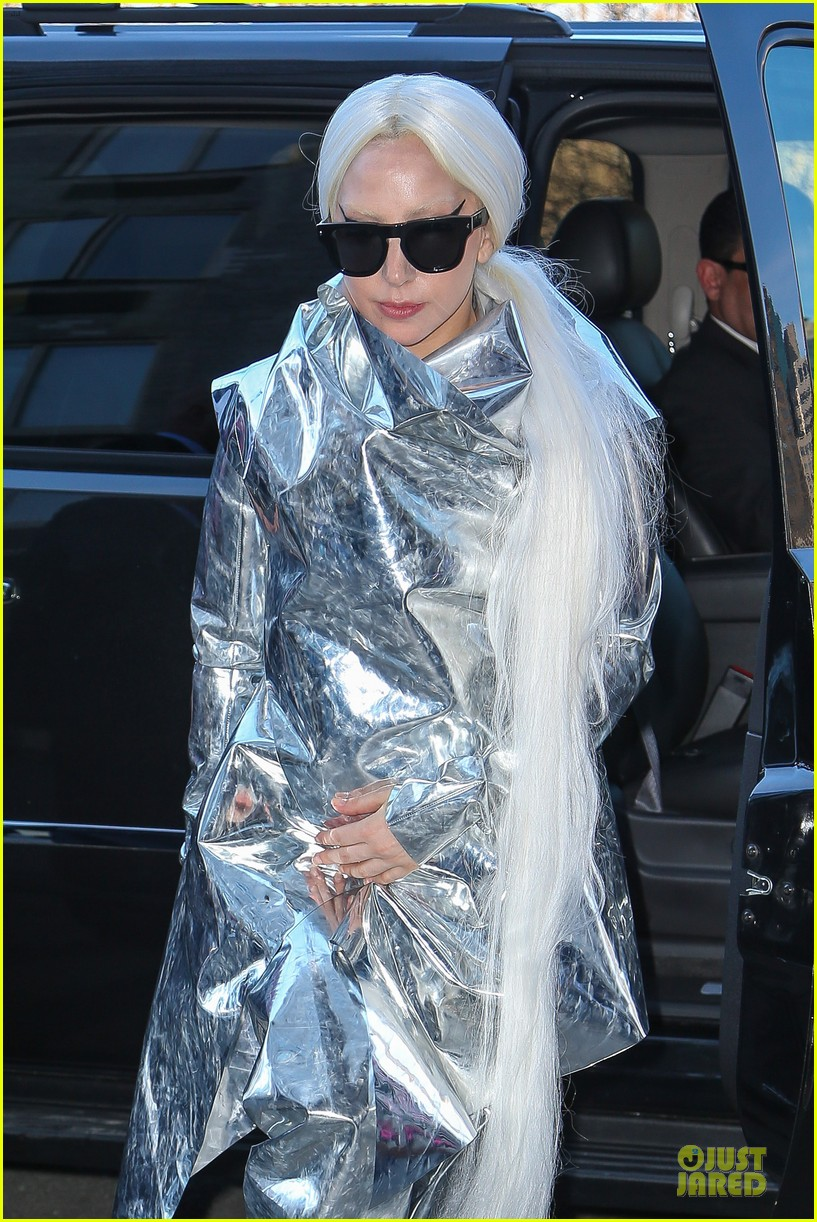 lady gaga shines in silver foil outfit 023078009