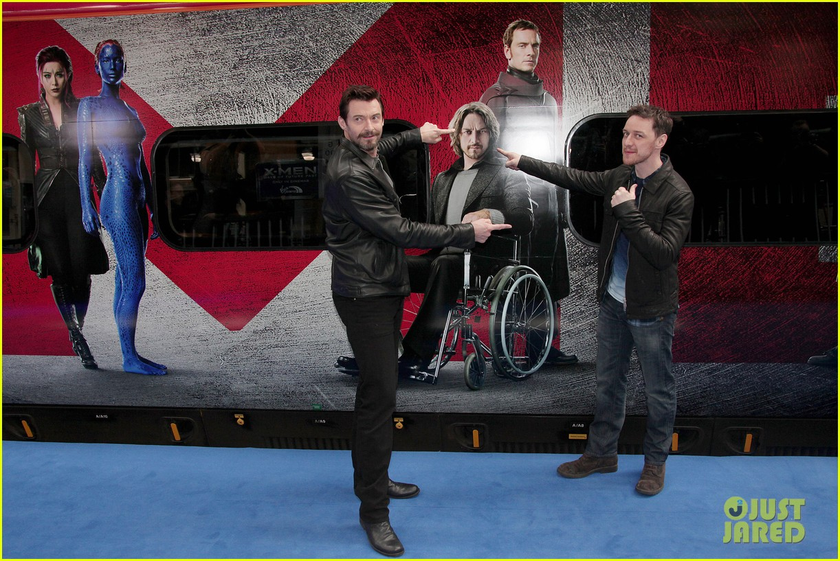 hugh jackman james mcavoy embrace bromance at x men days of future past train unveiling 013082105