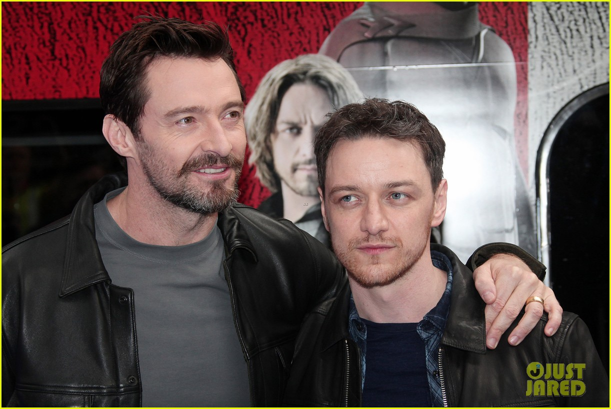 hugh jackman james mcavoy embrace bromance at x men days of future past train unveiling 02