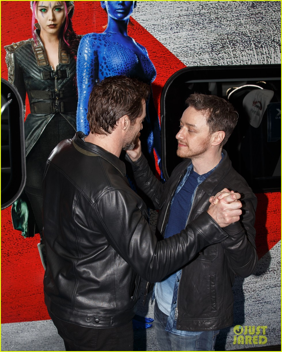 hugh jackman james mcavoy embrace bromance at x men days of future past train unveiling 033082107