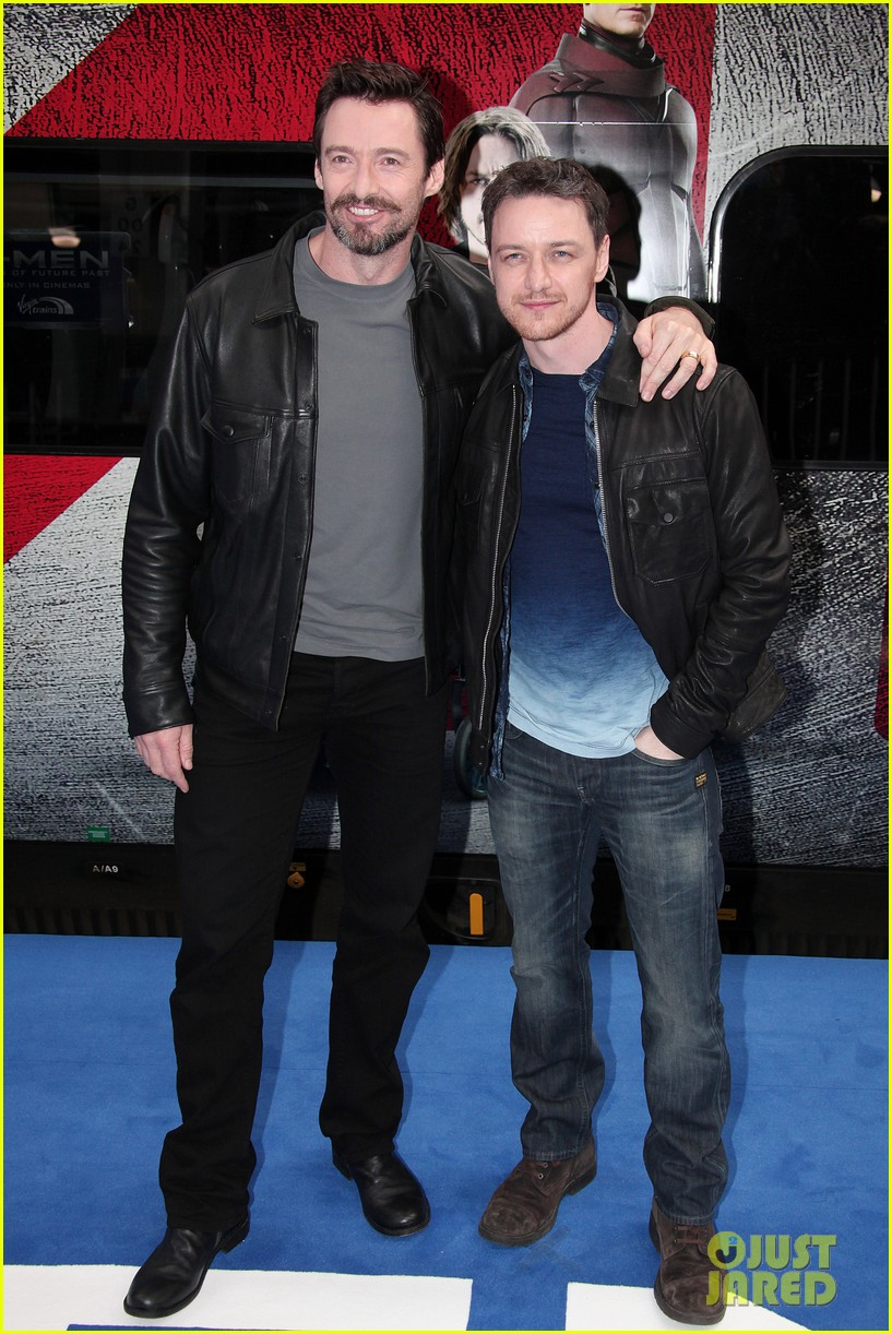 hugh jackman james mcavoy embrace bromance at x men days of future past train unveiling 043082108