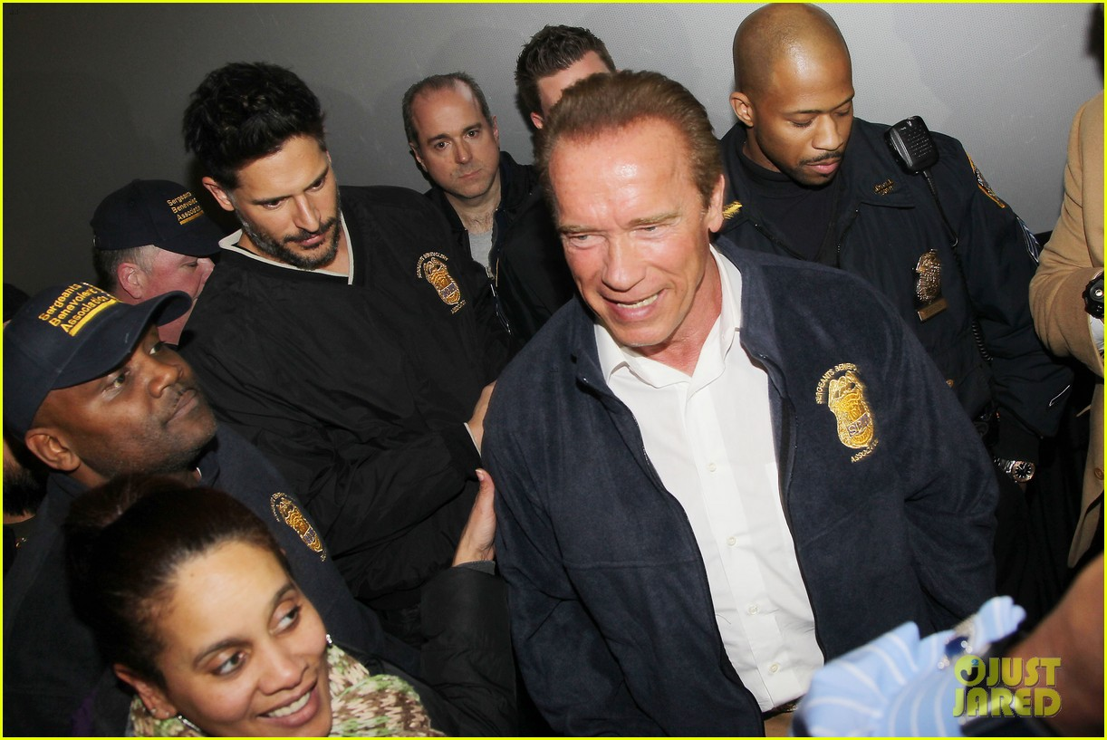 joe manganiello arnold schwarzenegger surprise nyc law enforcement 213077441