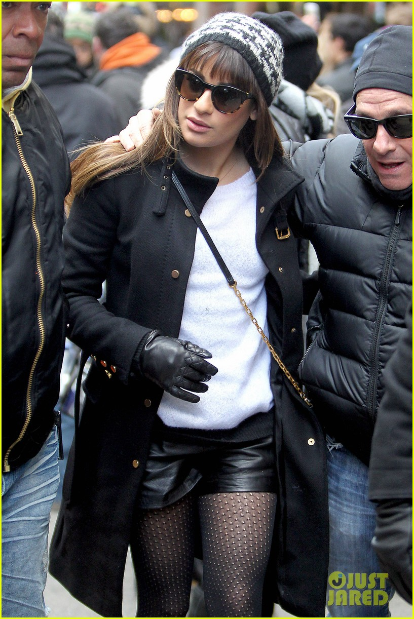 lea michele switches outfits around glee nyc 04