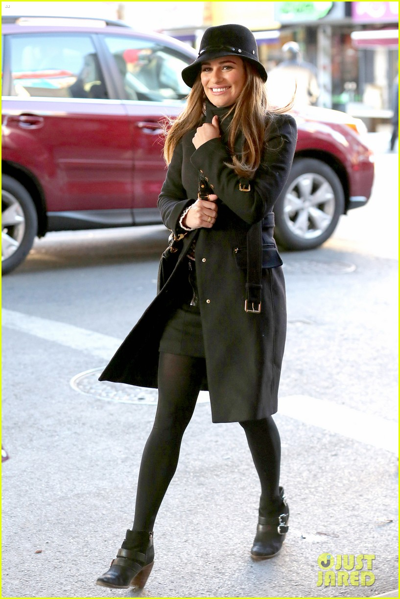 lea michele switches outfits around glee nyc 05