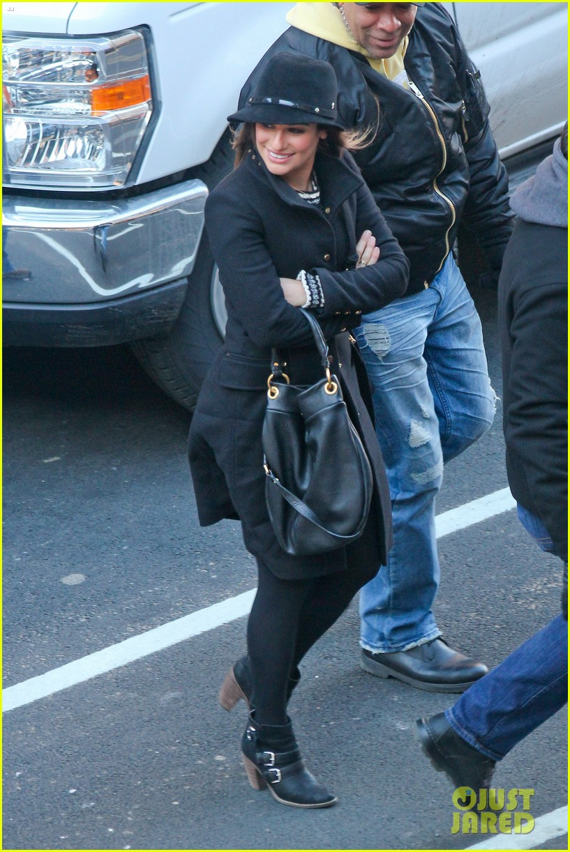 lea michele switches outfits around glee nyc 073071438