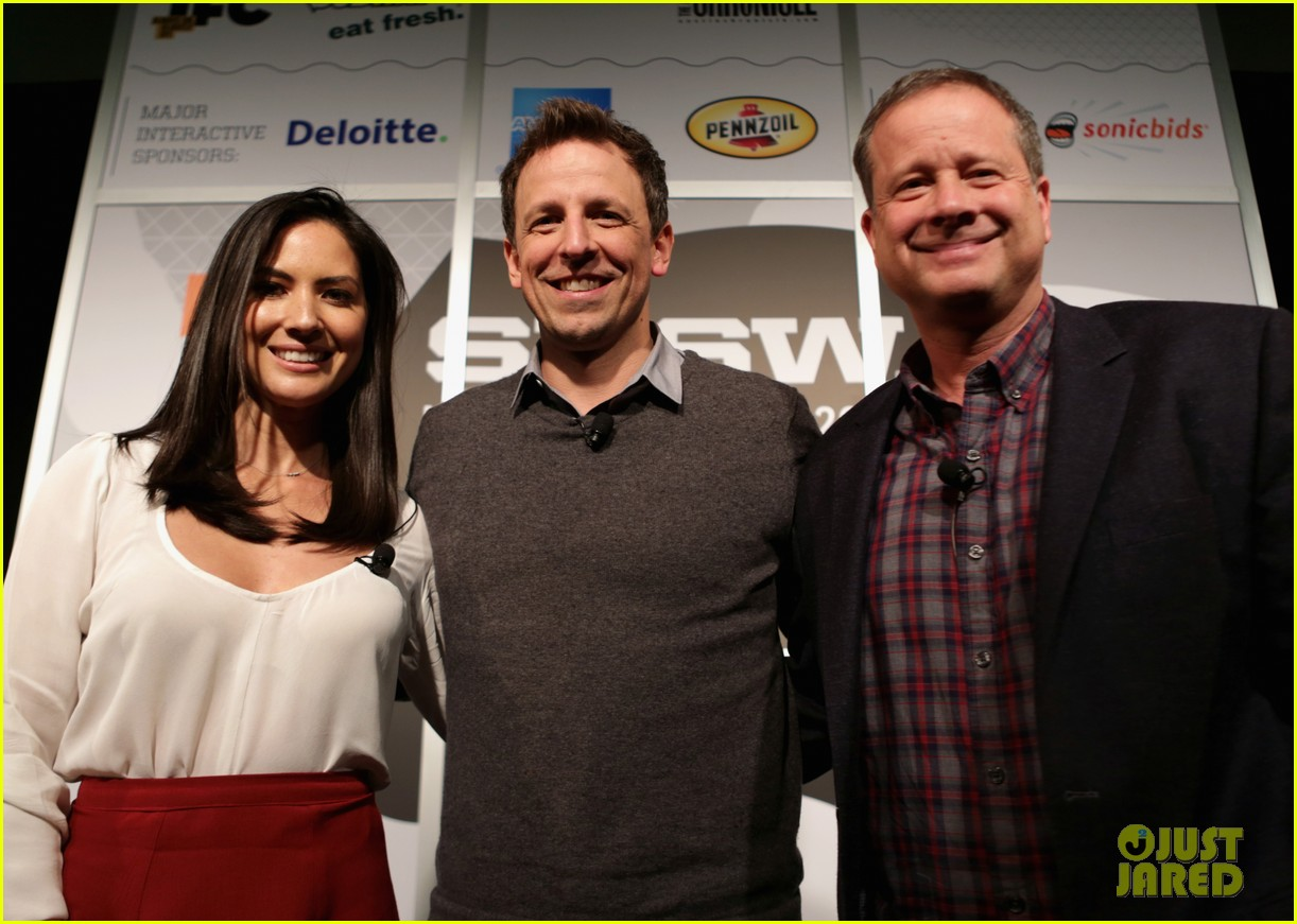 olivia munn late night seth meyers moderator at sxsw 02