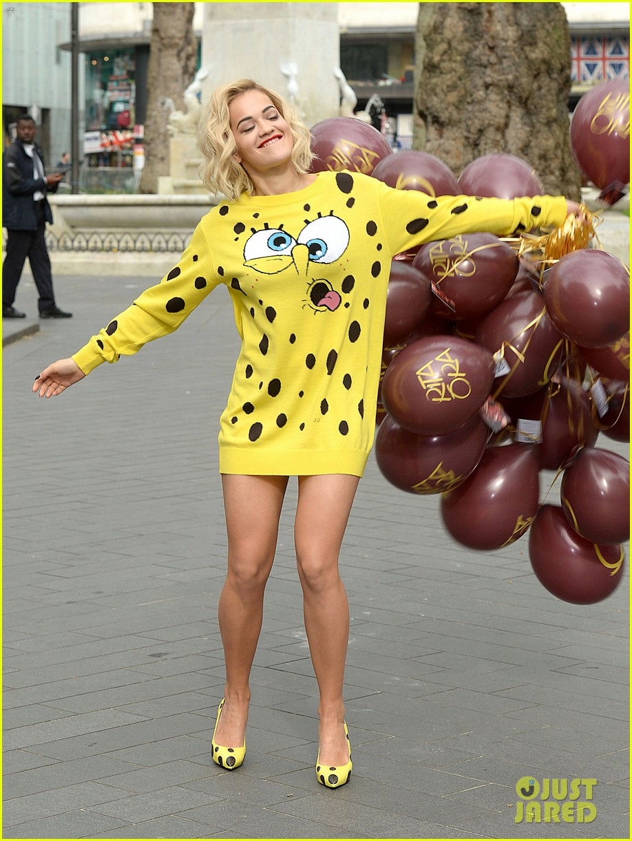 rita ora premieres i will never let you down at bbc radio in spongebob squarepants outfit 063082096