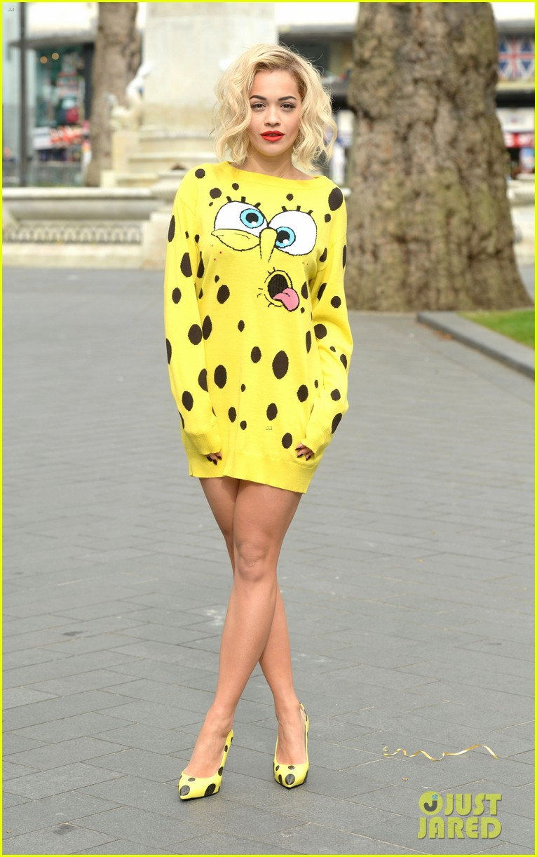 rita ora premieres i will never let you down at bbc radio in spongebob squarepants outfit 073082097