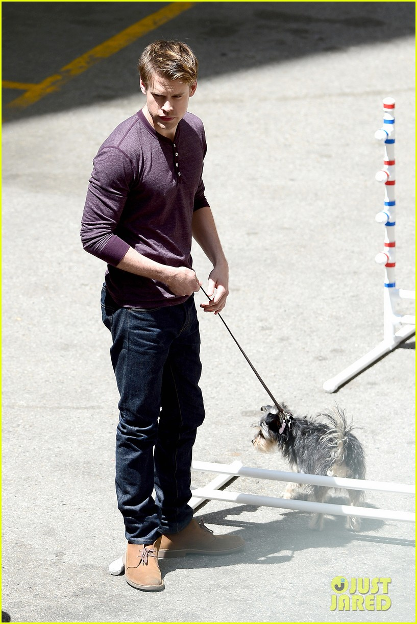 chord overstreet dotes on a dog its really cute 123098254