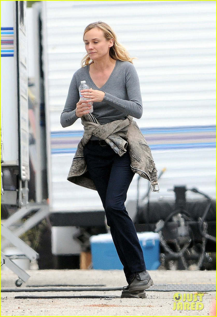 diane kruger gets direction on bridge set 13