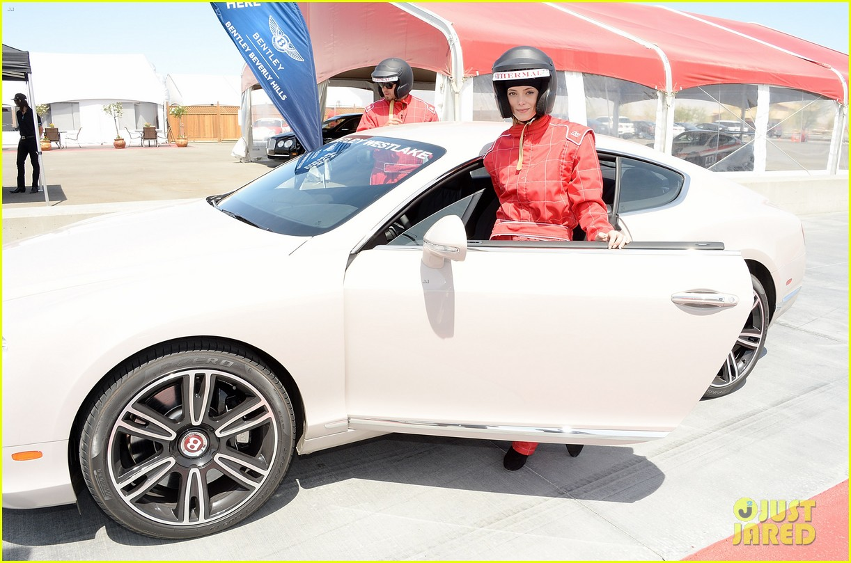 ashley greene kicks off coachella weekend race cars 07