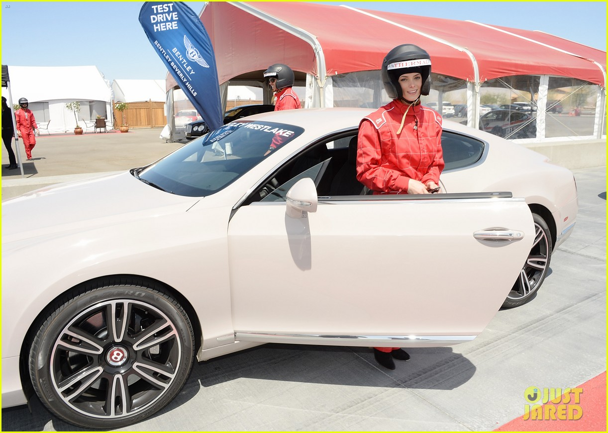 ashley greene kicks off coachella weekend race cars 08