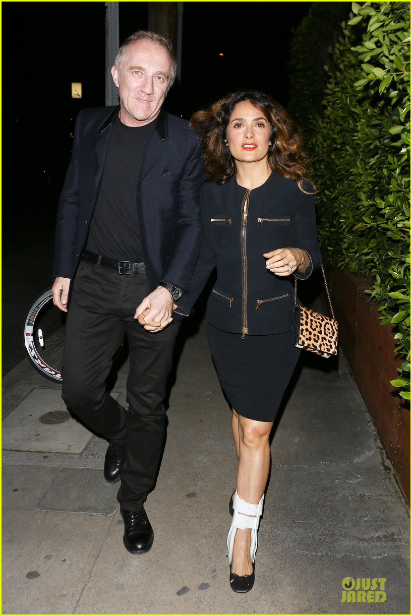 salma hayek can still look classy with ankle brace 213094741