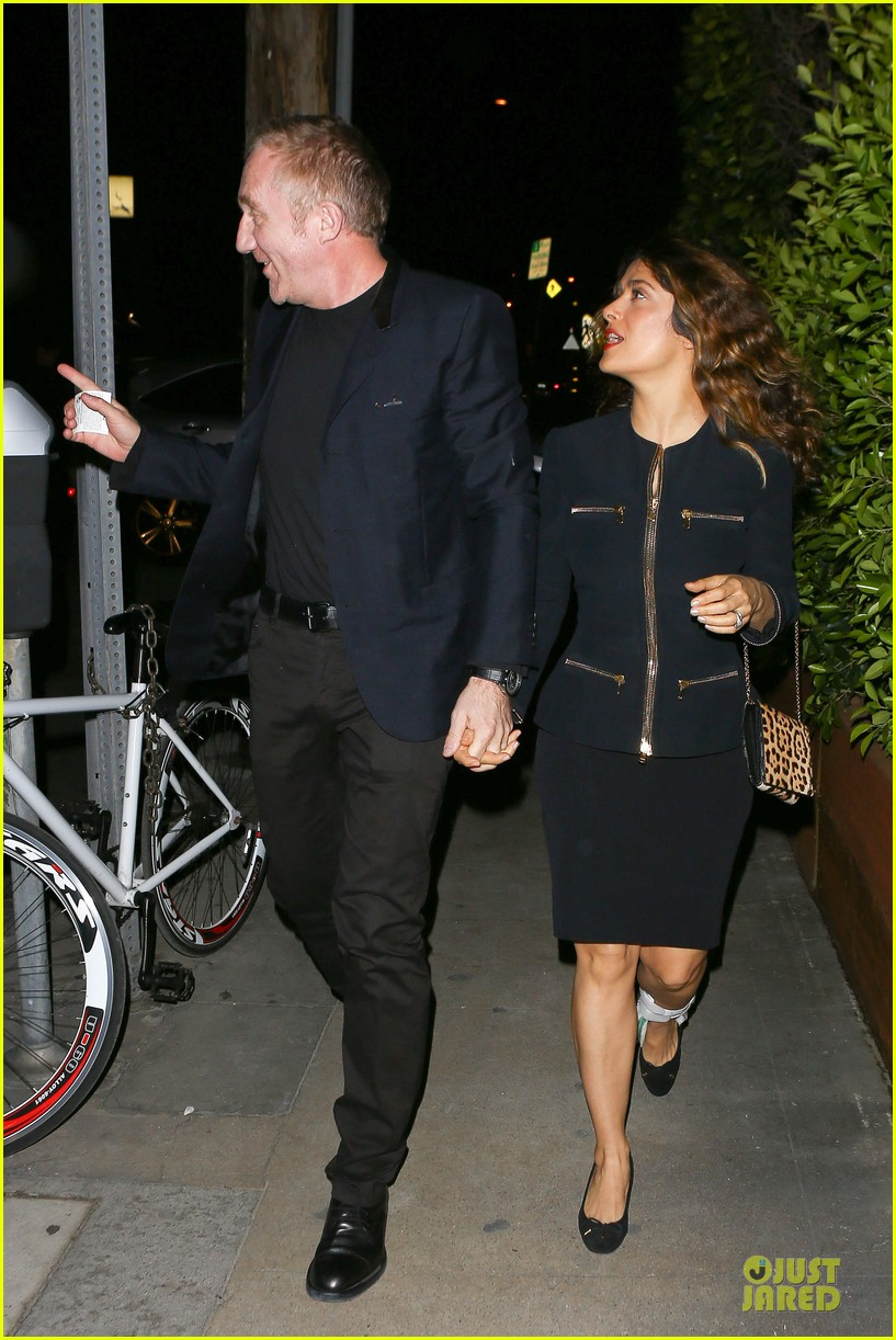 salma hayek can still look classy with ankle brace 283094748