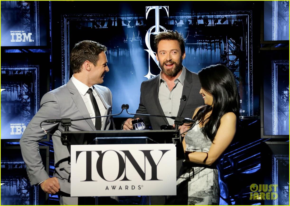 hugh jackman surprises jonathan groff lucy liu at tony awards announcements 083101569